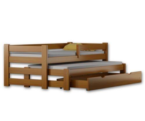 Massivholz Ausziehbett DUO incl. Schublade Matratzen als Option 200x90cm