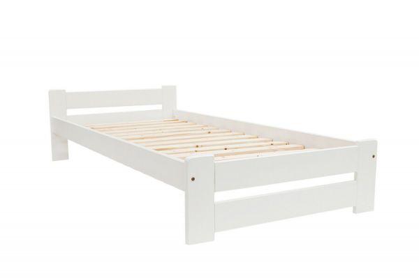 NATI Bett Einzelbett 200x90cm weiß mit Lattenrost Massivholz