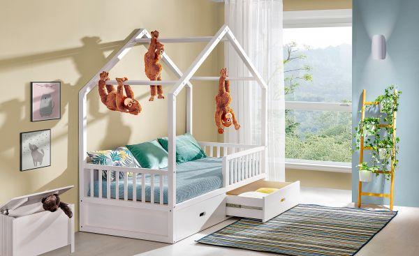 Massivholzbett Kinderbett Viktor zwei Schubladen mit Führungsschienen